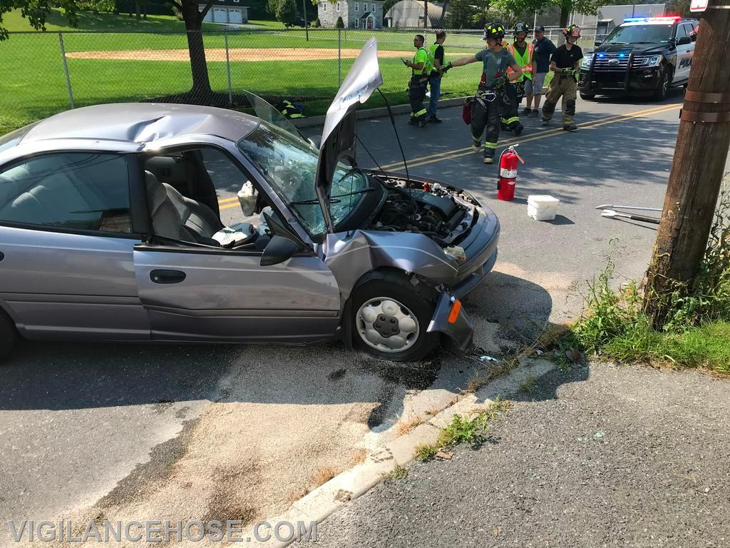 A single vehicle crash sent the driver to the hospital with minor injuries.